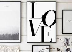 Love Love Print Love Poster Black and White Love Print