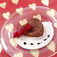 Flytende sjokoladehjerte med vaniljekesam