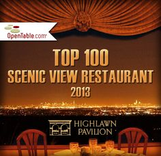 """""""Top 100 Scenic View Restaurant"""" in the US. Highlawn Pavilion is one of only three throughout all of NJ. The recognition is part of OpenTable's """"Diners' Choice Awards"""" which tallied more than 5 million guest reviews of over 15,000 restaurants across the country."""