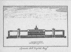 """Spaccato dell'Ospedale Maggiore, via Festa del Perdono, Milano. Marc'Antonio Dal Re, """"Vedute di Milano"""", incisione 57 (ca. 1745)."""