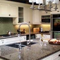Tropical Brown granite w/ white kitchen cabinets