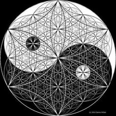 Flower of Yin & Yang. Sacred Geometry Art, Sacred Art, Fractal Geometry, Yin Yang Tattoos, Geometry Pattern, Sacred Symbols, Pentacle, Flower Of Life, Psychedelic Art