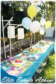 center pieces for kids table Baptism Party, Baptism Ideas, Christening Decorations, Party Themes, Party Ideas, Kid Table, The Little Prince, Art Party, Party Photos
