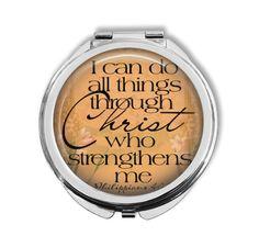 Philippians 4: 13  Silver Compact Mirror by DesignsofFaithandJoy