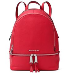 Michael Michael Kors  Rhea Zip Small Backpack (17.220 RUB) ❤ liked on Polyvore featuring bags, backpacks, bright red, leather zip backpack, red backpack, stitch backpack, michael michael kors and genuine leather backpack