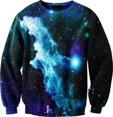 "blue galaxy sweater. an addition to a personal phase I like to call ""cosmic desire"""