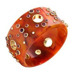 Betteridge: Mark Davis 'Olga' Gem Set Burnt Orange Bakelite Bangle . betteridge.com
