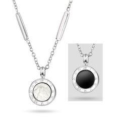 SSJ Smykke i sølvfarget stål med perlemor og sort detalje