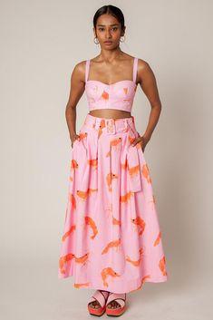 Rachel Antonoff Vinita Pleated Skirt - Prawn Print on Garmentory Look Fashion, Fashion Outfits, Womens Fashion, Fashion Design, Steampunk Fashion, Gothic Fashion, Unique Fashion, Pool Party Outfits, Moda Formal