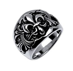 Sterling Silver Biker Ring Fleur de Lis Design in by ATNdesigns