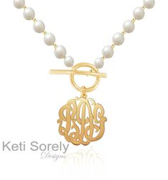 Monogrammed Initials Necklace with Fresh Water Pearls And Toggle Clasp (Order Any name) -  24K Gold & Sterlig Silver