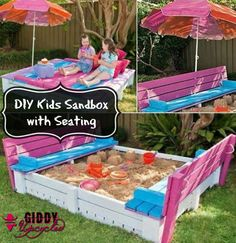 DIY Kids Sandbox with awesome seating design and lounge deck - so fun!