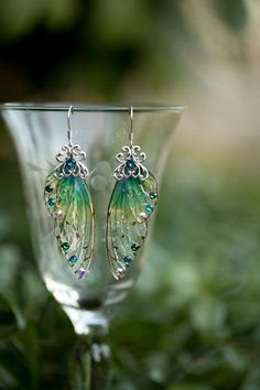 Spriggan Fairy Wing Silver earrings by fairystitchfactory on Etsy
