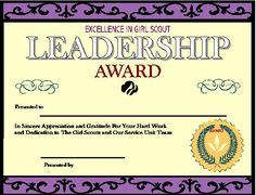 Girl scout award certificate template certificate of for Girl scout award certificate templates