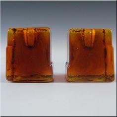 Lindshammar Pair 1970's Swedish Orange Glass Candlesticks - £19.99