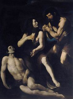 Giovanni Battista Caracciolo, Lamentation of Adam and Eve on the Dead Abel,  first half of 17th century, oil on canvas; Dimensions:	Height: 200 cm (78.7 in). Width: 148 cm (58.3 in); Current location	Private collection