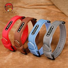 Dog Collars Personalized Custom Leather Dog Collar Name ID Tags