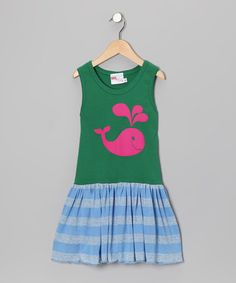 Take a look at this Green & Blue Stripe Whale Dress - Infant, Toddler & Girls by Gus & Lola on #zulily today!