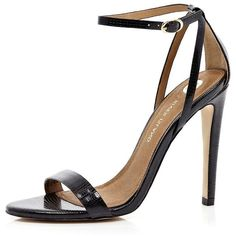 River Island Black barely there stiletto sandals found on Polyvore