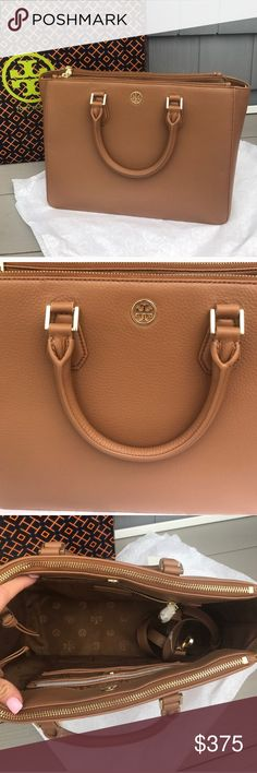 "Tory Burch ""Landon multi Tote"" Brand new with tags in plastic never used, beautiful bag had removable crossbody strap, all dimensions in pics, can be used as purse, computer/work bag ! Make me an offer reg $575 Tory Burch Bags Totes"