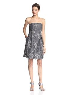 ML Monique Lhuillier Women's Embroidered Strapless Lace Dress (Platinum)