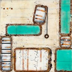 Someone Has To Be Different, Encaustic Painting with Rust, Paper and Carbon Ink, Pam Nichols