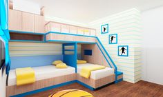 three beds with one ramp | Three beds , two beds positioned as L shape with drawers and one bed ...