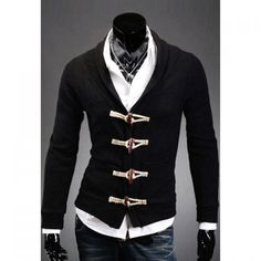 Casual Style V-Neck Wood Buttons Embellished Long Sleeves Solid Color Cotton Cardigan For Men