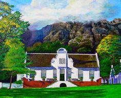 Michael Durst - Manor House at Rustenberg Dutch Colonial Homes, Cape Dutch, African House, Thatched Roof, Beautiful Paintings, Cape Town, House Painting, Online Art Gallery, South Africa