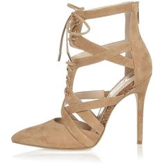 River Island Beige suede caged court heels ($150) ❤ liked on Polyvore featuring shoes, pumps, beige, shoes / boots, women, suede pointy toe pumps, suede pumps, beige pointy toe pumps, high heel shoes and pointed-toe pumps
