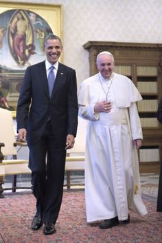 U.S. President Obama walks with Pope Francis during private audience at Vatican #PopeFrancis