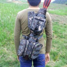 Large Tactical Nylon Arrow Quiver with Molle System Bag for Recurve / Compound bow Archery Hunting Shooting Arrow Holder Bag. Archery Quiver, Archery Gear, Arrow Quiver, Archery Arrows, Archery Equipment, Recurve Bow Hunting, Recurve Bows, Crossbow Hunting, Crossbow Targets
