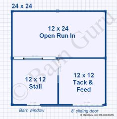 1 Stall Horse Barn Plans -ONE Stall Horse Barn - Design Floor Plan This is the one!