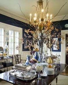 Oh My! I'm Black and Blue | Black and Blue Decor | beautiful dining room with chinoiserie porcelains by Nell Hill