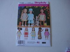 """New Simplicity Pattern 1136/S0670 18"""" American Girl doll clothes purse hat in Crafts, Sewing & Fabric, Sewing 