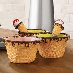 Another take on the waffle cone bowl, this one with brown syrup drizzling down.