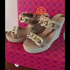 NIB Tory Burch Wedge Sandal 8.5 These are a size 8.5  Super Super Sexy Cute.  $295 retail Tory Burch Shoes Sandals