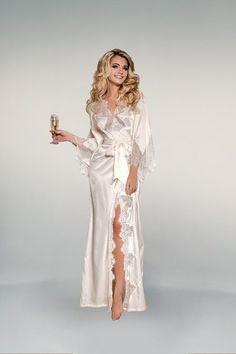 Bridal dream - wedding white peignoir with Chantilly lace (erotic white lingerie, wedding dress, nightgown, sexy) White Lingerie, Beautiful Lingerie, Bridal Robes, Bridal Lingerie, Chantilly Lace, Satin Dresses, Dream Wedding, Wedding White, Gift Wedding