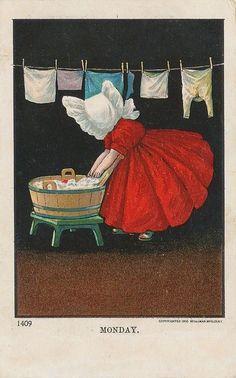 Postcard of Sunbonnet Sue based on the illustrators's work, Bertha Corbett..