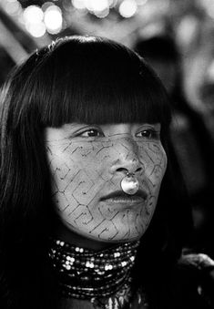 PERU. Shipibo Indian woman with face paintings in a village on the Ucayali river. 1962.