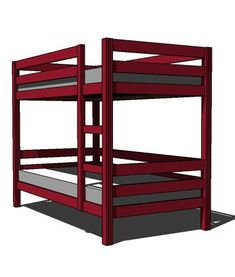 I want to make this!  DIY Furniture Plan from Ana-White.com  These bunk beds are unique because they are easy to build and can be assembled and disassembled easily. Ladder is integrated into the design.