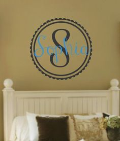 Monogram Name With Initial Set Vinyl Wall Decal. Love This Idea!