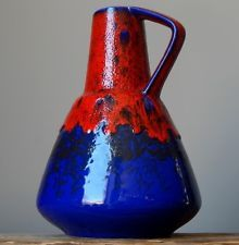Vintage 60-70's DUMLER&BREIDEN 310/22 Red/Blue Vase German Pottery Fat Lava Era