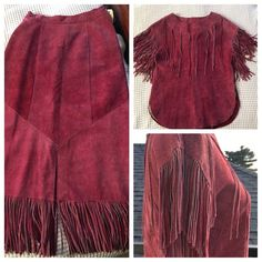 """Vintage pioneer suede fringe top and skirt Gorgeous vintage 2 pc set!! 100% cowhide genuine leather! Top size8: Shoulder width: 21"""" Length: 24"""" from HPS Bust: 18"""" (36"""" circ) ** has inside 100% acetate lining  Skirt: Size 6 Length to bottom of fringe: 34"""" Length to top of fringe: 28 1/4"""" Waist:  12 3/4 ( 25 1/2"""" circ)  * *has inside elastic on the sides, waist can stretch to 13 3/4"""" ( 27 1/2"""" circ) Bottom width measured on top of fringe: 22"""" ( 44"""" circ) ** has inside 100% acetate lining…"""