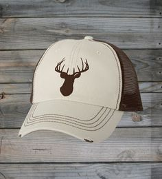 FRONT VIEW - Country Girl ® Deer Head Brown Trucker Hat #CountryGirl #CountryMusic #CountryLife