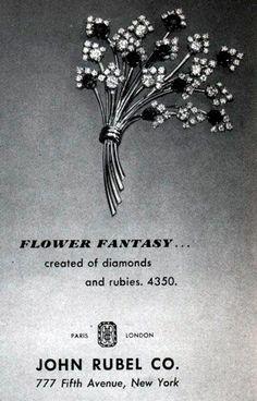 John Rubel - Broche 'Bouquet' - Rubis et Diamants - Publicité - Magazine Vogue - 1943