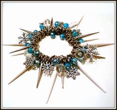 Winter Snowflake Charm Bracelet with Spikes and Icy Blue Beads   by VitalMadness, $45.00