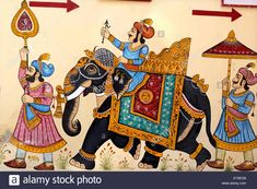 Representation Elephant - Rajasthan India Stock Photo Rajasthani Miniature Paintings, Rajasthani Painting, Rajasthani Art, Pichwai Paintings, Mughal Paintings, Indian Art Paintings, Kalamkari Painting, Madhubani Painting, Indian Elephant Art