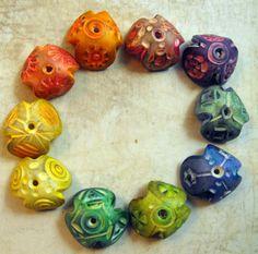 10 Big Colorful Artisan Bead Caps - Handmade from Polymer Clay - MargitBoehmer