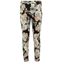 Boohoo Ana Dark Floral Skinny Trousers | Boohoo ($12) ❤ liked on Polyvore featuring pants, sports pants, floral pants, sport pants, skinny pants and basic t shirt